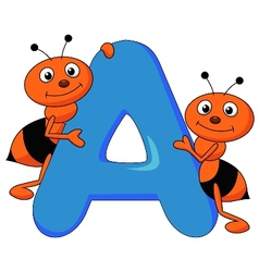 Alphabet A with ant cartoon vector