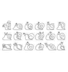 Animal snail line set icon vector