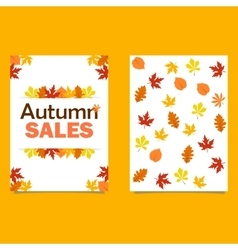 Autumn sale flyer template with lettering vector