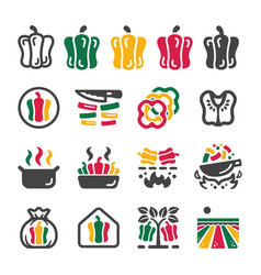 bell pepper icon set vector image