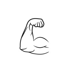 biceps muscle arm line style and flat design vector image
