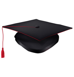 black graduation cap with red tassel isolated vector image