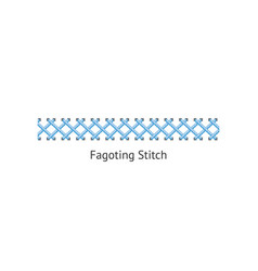 blue fagoting stitch for textile sewing and vector image