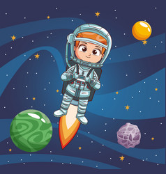 boy astronaut in the space vector image
