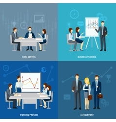 Business coaching 4 flat icons square vector