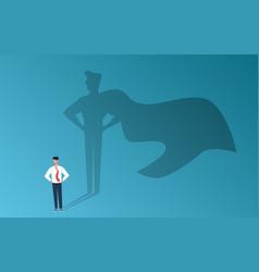 Businessman with superhero shadow leadership vector