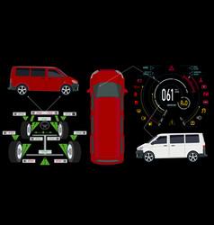 Car service bus digital automotive dashboard of vector