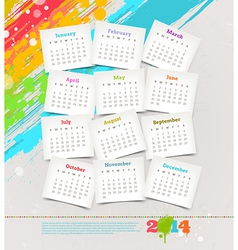 Cardboards with calendar of 2014 year vector image