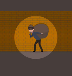 Cartoon caught a burglar by the wall vector