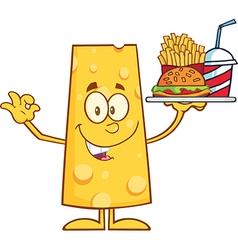 Cheese Cartoon Character Serving Food vector