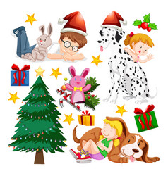 children and christmas tree on white background vector image