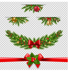 christmas garland big collection transparent vector image