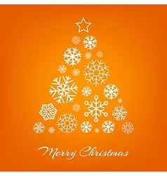 Christmas tree from white snowflakes on vector image