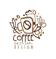 Coffee to go hand drawn original logo design with vector