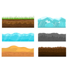 color cross section of ground set vector image