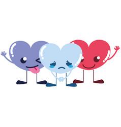 Colorful cute hearts friends kawaii cartoons vector
