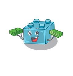 Cool rich lego brick toys character having money vector