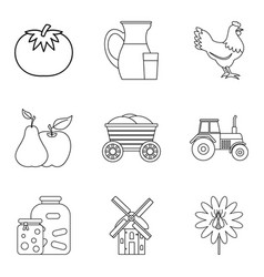 Cornfield icons set outline style vector