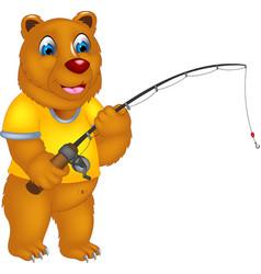cute bear cartoon fishing with smile vector image