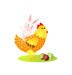 cute happy easter rabbit ride on gold chicken vector image