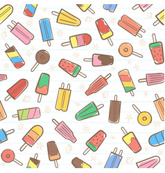 Cute seamless summer pattern with fruit icecream vector