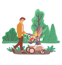Daddy walking with son in carriage in park vector