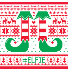 Elfie christmas seamless pattern ugly jum vector