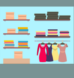 female boutique with modern stuff collection vector image