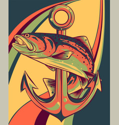Fish around anchor art vector