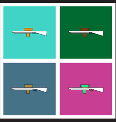 Flat icon design collection military sniper rifle vector