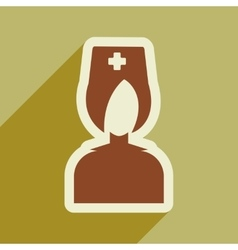 Flat icon with long shadow doctor nurse vector