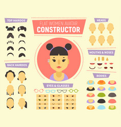 flat women avatar constructor for generating vector image