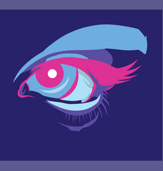 Futuristic eye makeup in ultra violet lighting vector