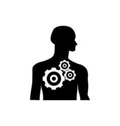 Gearwheel mechanism in silhouette of man vector