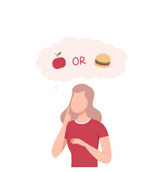 Girl trying to make decision apple or burger vector