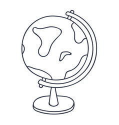 globe - model of earth doodle style black and vector image