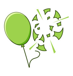 Green balloon popped on white background vector