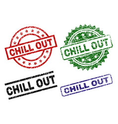 Grunge textured chill out seal stamps vector