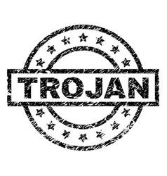 Grunge textured trojan stamp seal vector