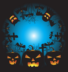Halloween background with pumpkin ghost face vector
