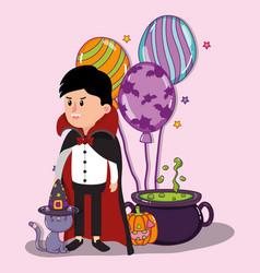 halloween kids celebration cartoons vector image