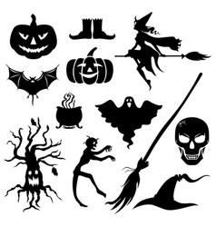 halloween silhouette icon set vector image