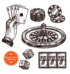Hand Drawn Sketch Casino Collection vector