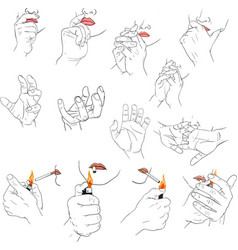 Hand holding lighter vector