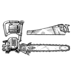 hand saw and chainsaw vector image