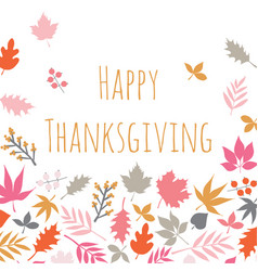 happy thanksgiving scandi style card with autumn vector image