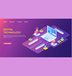 isometric digital technology landing page vector image