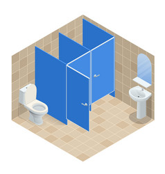 Isometric row of white ceramic wash basin in vector