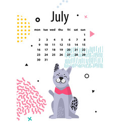July calendar for 2018 year with friendly malamute vector