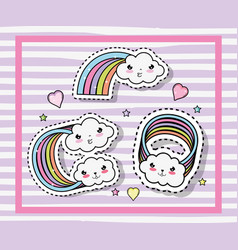 Kawaii cute clouds with rainbows and hearts vector